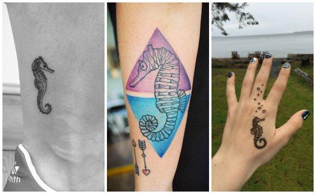 Tatuajes de caballitos de mar con tribales