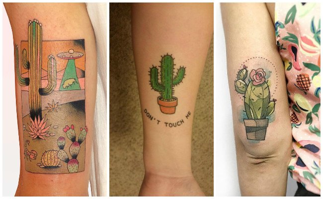 Tatuajes de cactus en el antebrazo