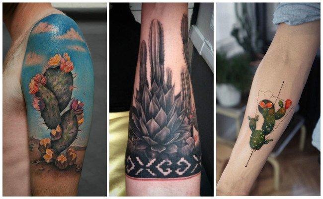 Tatuajes de cactus en blanco y negro