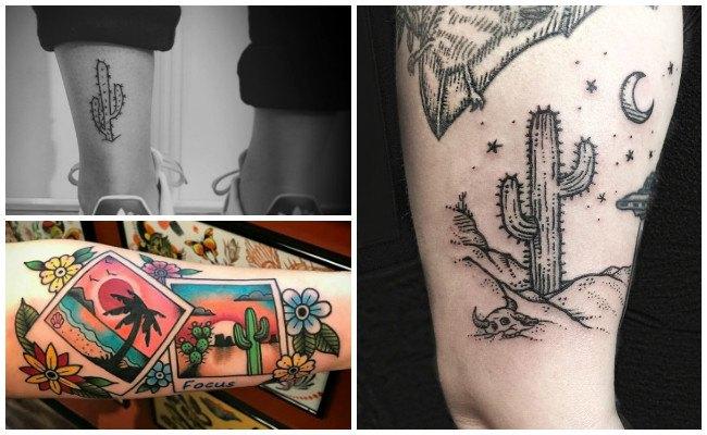 Tatuajes de cactus con colores