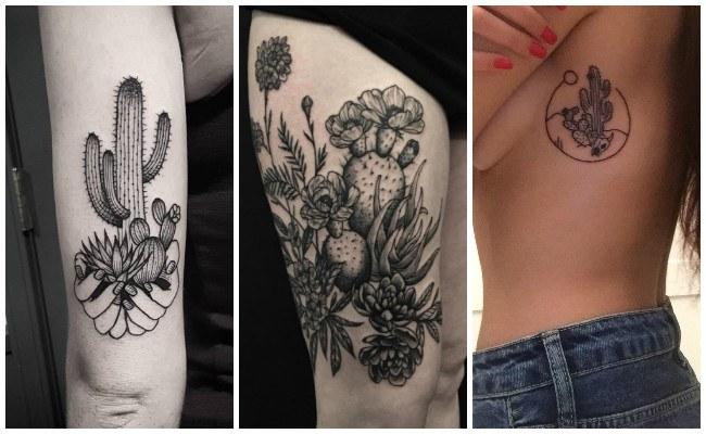 Tatuajes de cactus en las costillas