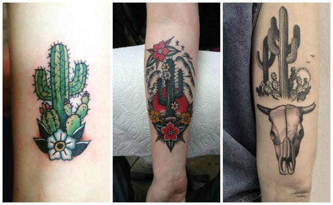 Tatuajes de cactus en el desierto