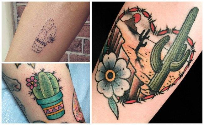Tatuajes de cactus en la espalda