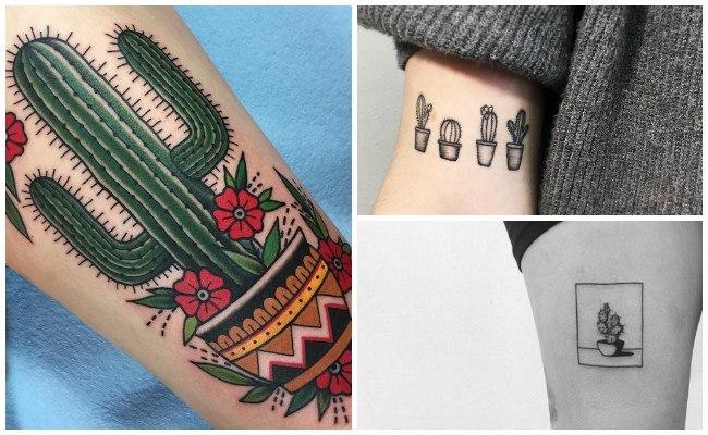 Tatuajes de cactus minimalistas