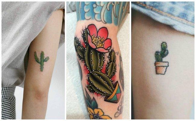 Tatuajes de cactus en el muslo