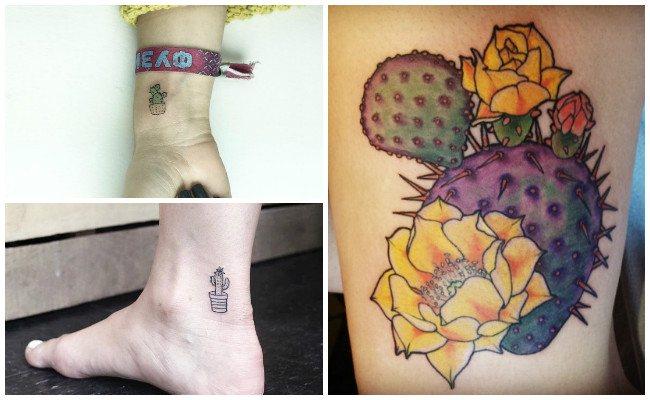 Tatuajes de cactus en el pie