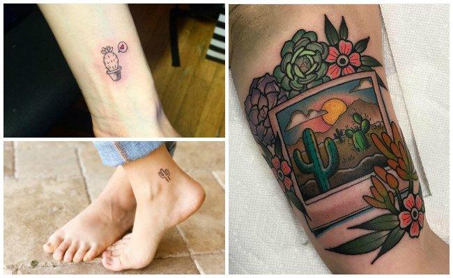 Tatuajes de cactus en el tobillo