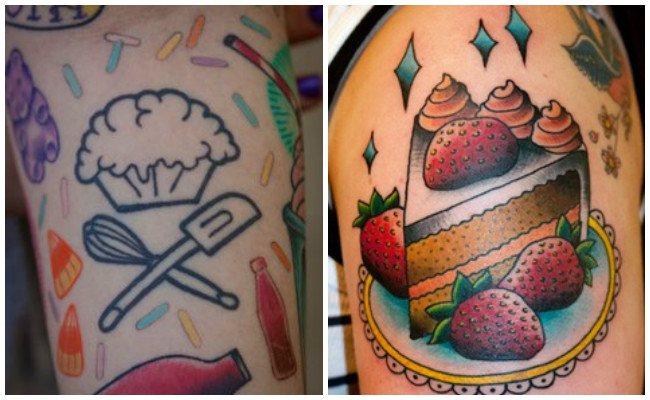 Tatuajes de chef con tarta