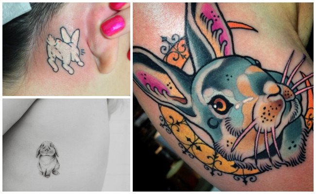 Tatuajes de conejos en la pierna