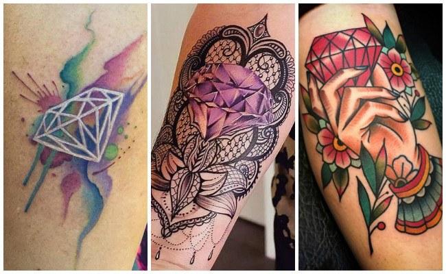 Tatuajes de diamantes de colores
