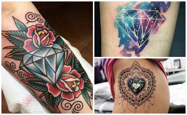 Tatuajes de diamantes en la mano