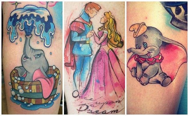 Tatuajes de disney en el muslo