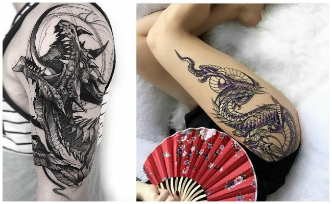 Tatuajes de dragones y calaveras