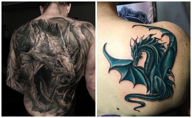 Tatuajes de dragones con rosas