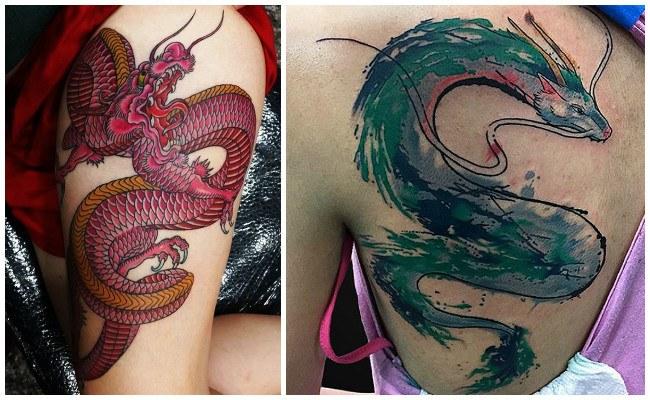 Tatuajes de dragones en el cuello