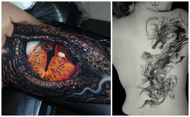 Tatuajes de dragones en la pierna