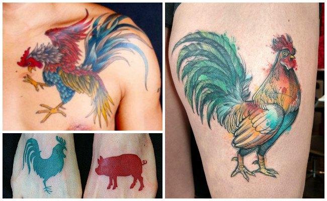 Tatuajes de gallos en el cuello