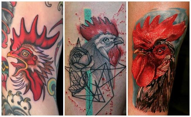Tatuajes de gallos en la espalda