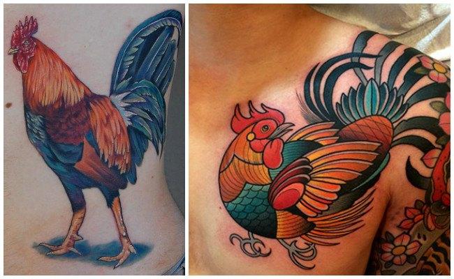 Tatuajes de gallos en el hombro
