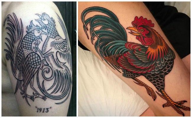Tatuajes de gallos para hombre