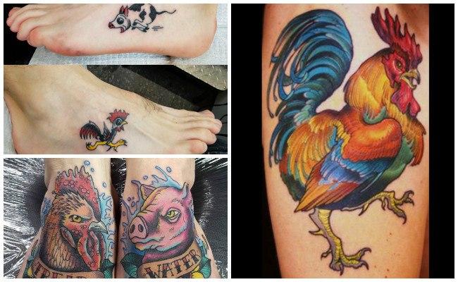 Tatuajes de gallos en la pierna