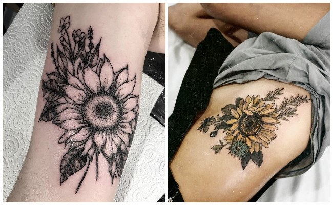 Tatuajes de girasoles a color
