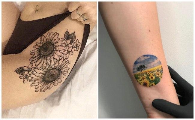 Tatuajes de girasoles en blanco y negro