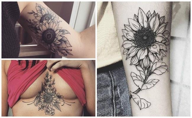 Tatuajes de girasoles en el antebrazo