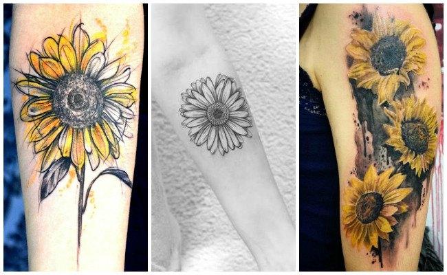 Tatuajes de girasoles en el brazo