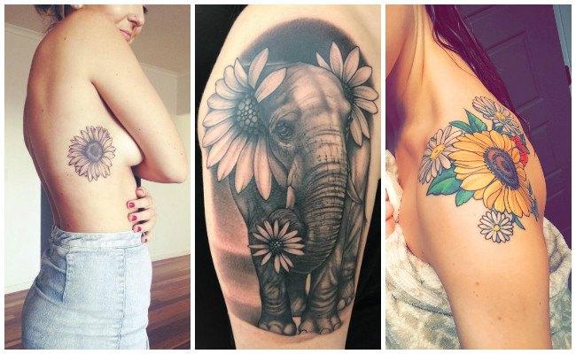 Tatuajes de girasoles en el hombro