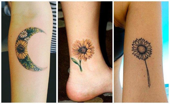 Tatuajes de girasoles en el muslo