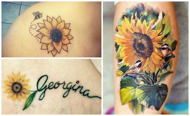 Tatuajes de girasoles en el pecho