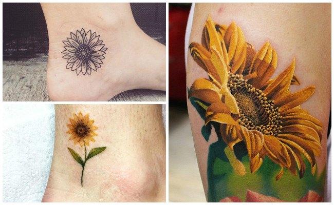 Tatuajes de girasoles en el pie