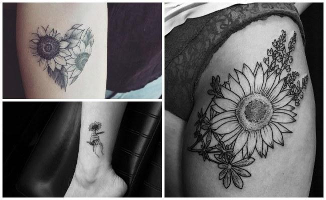 Tatuajes de girasoles en el tobillo