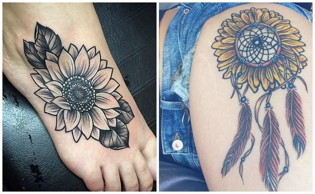 Tatuajes de girasoles en la cadera