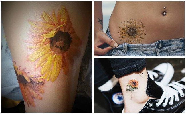 Tatuajes de girasoles en la pierna