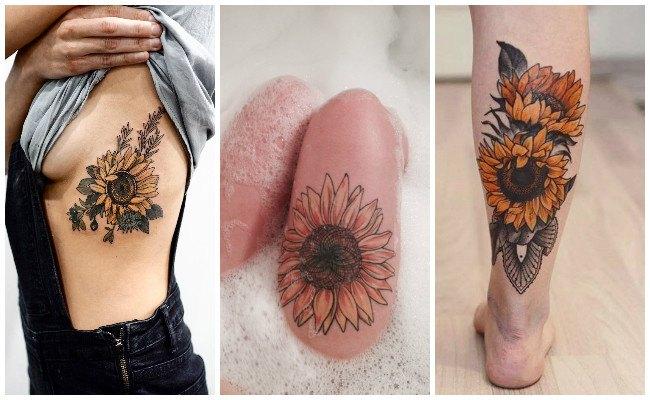 Tatuajes de girasoles en las costillas