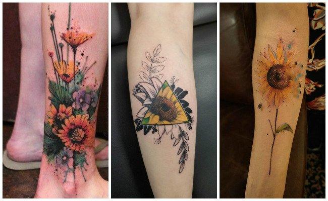 Tatuajes de girasoles pequeños