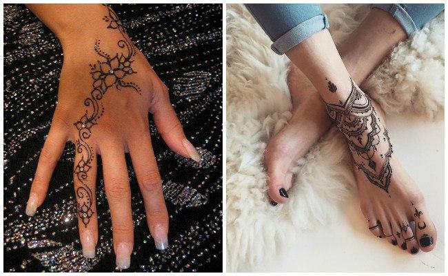 Tatuajes de henna en los pies