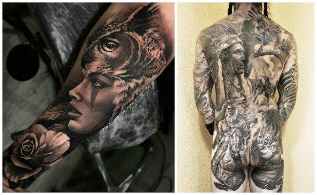 Tatuajes de indios con lobos