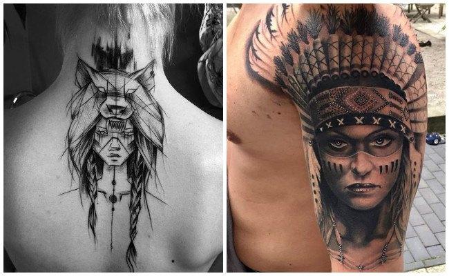 Tatuajes de indios y lobos