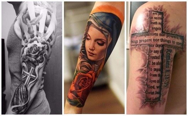 Tatuajes de Jesús crucificado en el brazo