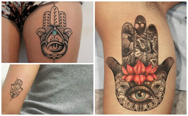 Tatuajes de la mano de fátima en el brazo