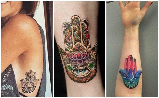 Tatuajes de la mano de fátima en las costillas