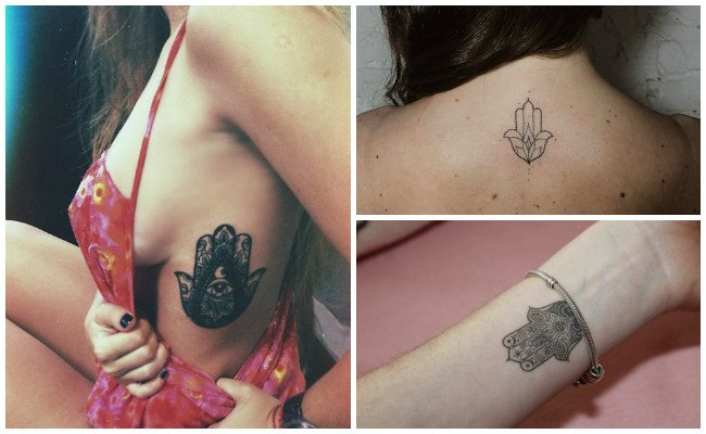 Tatuajes de la mano de fátima en la espalda
