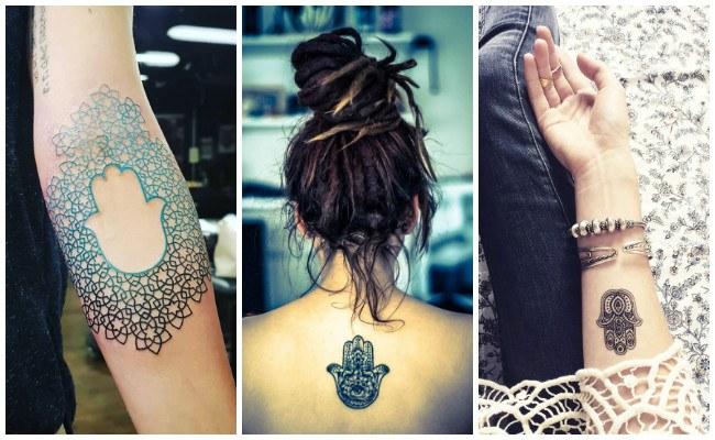 Tatuajes de la mano de fátima en la mano