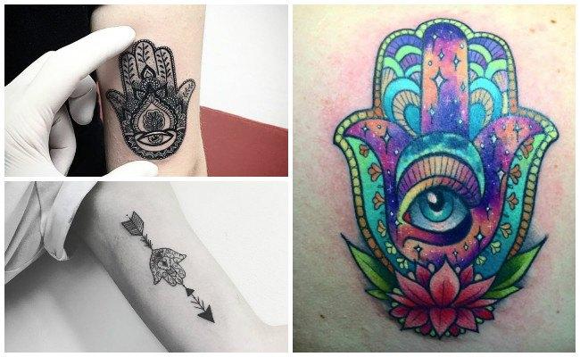 Tatuajes de la mano de fátima en el muslo