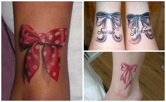 Tatuajes de lazos en la pierna