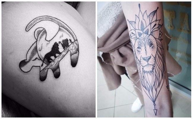 Tatuajes de leones con cachorros
