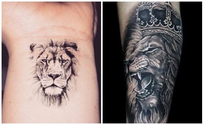 Tatuajes de leones con corona
